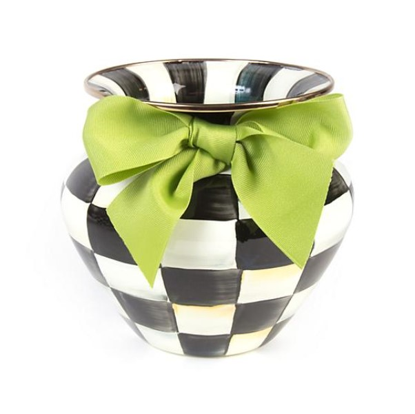 Courtly Check Large Vase With Green Bow