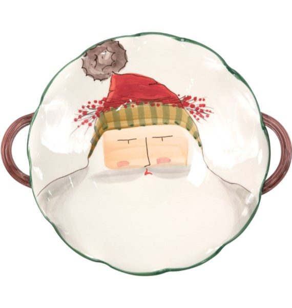 Old St Nick Scallop Handle Bowl Santa