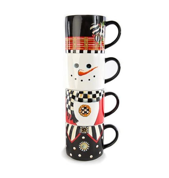 Tophat Snowman Set Mugs