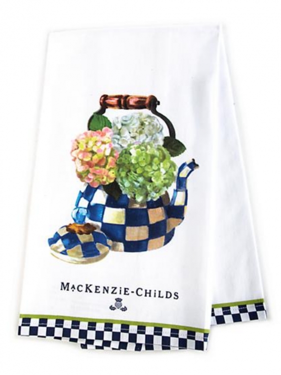 hydrangea kettle kitchen towel