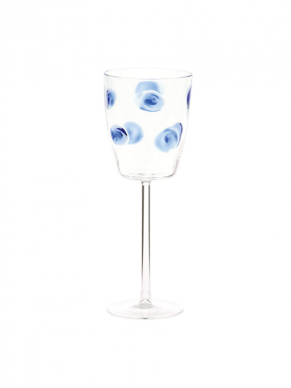 DRP B DROP BLUE WINE GLASS