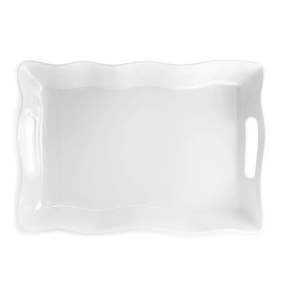 RUFFLED RECTANGULAR SERVING PLATTER W HANDLES