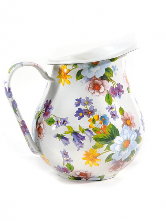flower market enamel pitcher