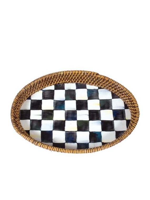 courtly check rattan tray small
