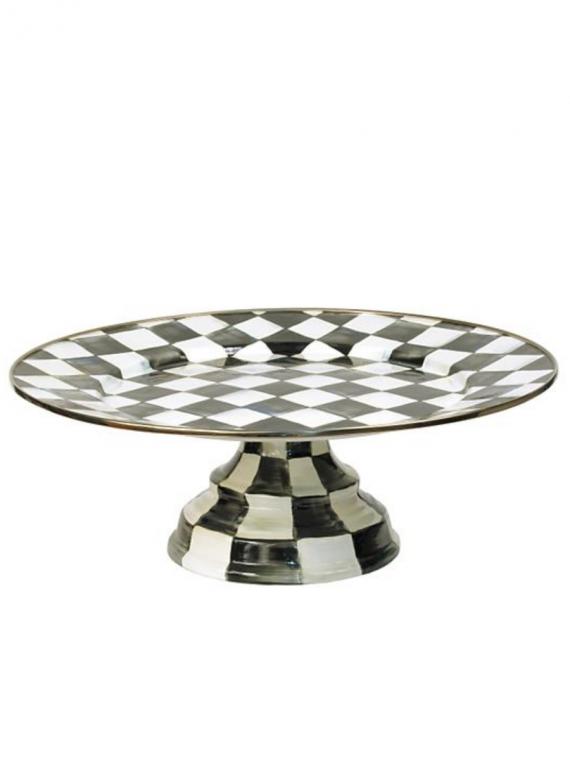 courtly check pedestal platter large