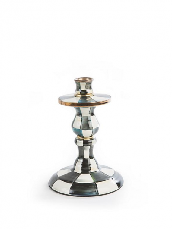 courtly check enamel small candlestick
