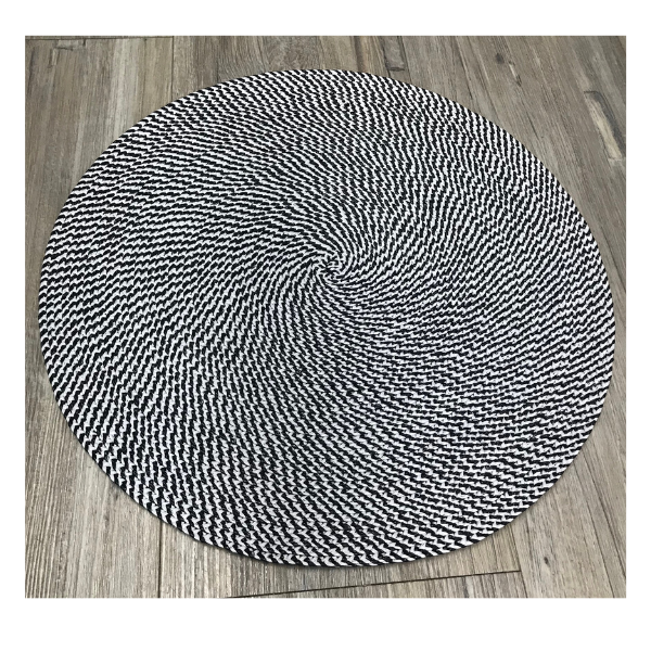 H BLKW BRAIDED PLACEMAT BLACK AND WHITE