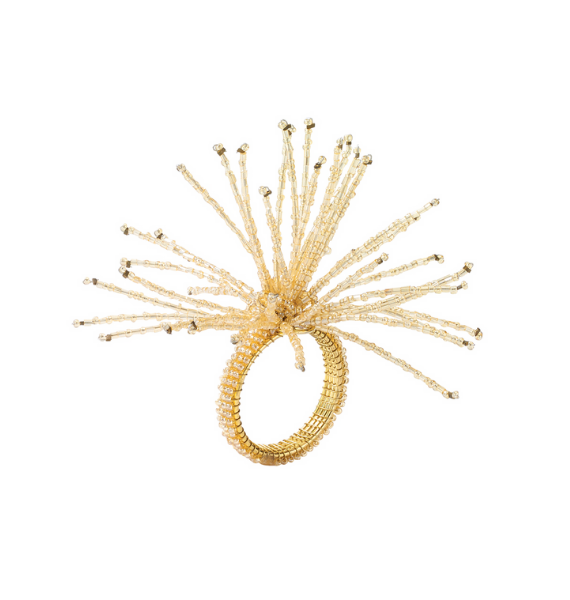 NRCH SPIDER BEAD CHAMPAGNE NAPKIN RING