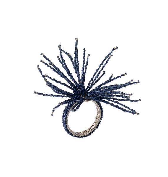 NRNAVY SPIDER BEAD NAVY NAPKIN RING