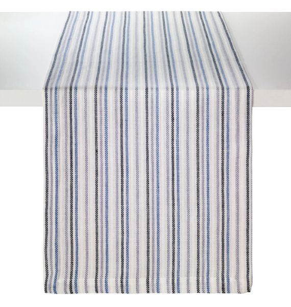 grecian strip navy table runner