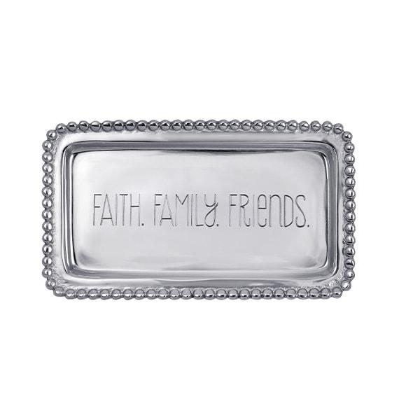 FF FAITH FAMILY FRIENDS BEADED TRAY
